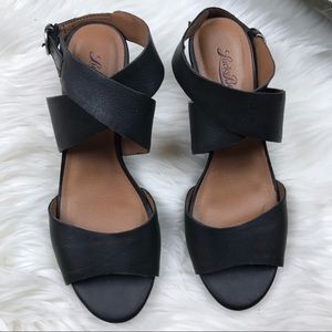 Lucky Brand Shoes - Lucky Brand Black Leather Jemini Wedge Sandals